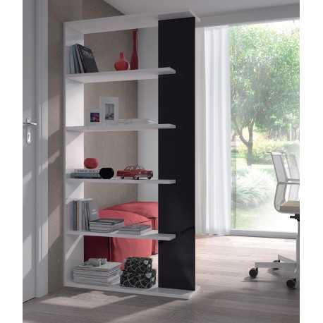 ALIDA Bibliothèque noir et blanc brillant - L 90 cm.(DISPONIBLE MI-DÉCEMBRE)