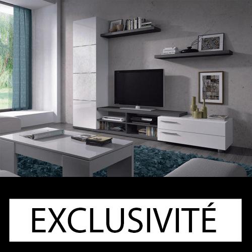 ADHARA Meuble TV + 2 étagères murales mélaminés blancs (DISPONIBLE MI-DÉCEMBRE)