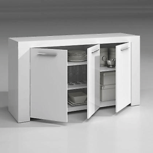 Ambit Buffet 3 Portes Blanc Brillant 144x80x42cm (Disponible mi-décembre)