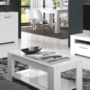 AMBIT TABLE BASSE Blanc brillant 40 cm/120 cm/42 cm. (DISPONIBLE MI-DÉCEMBRE)