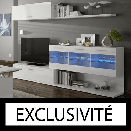 Meuble TV ARAL mural LED contemporain blanc brillant 260 cm. (DISPONIBLE MI-DÉCEMBRE)