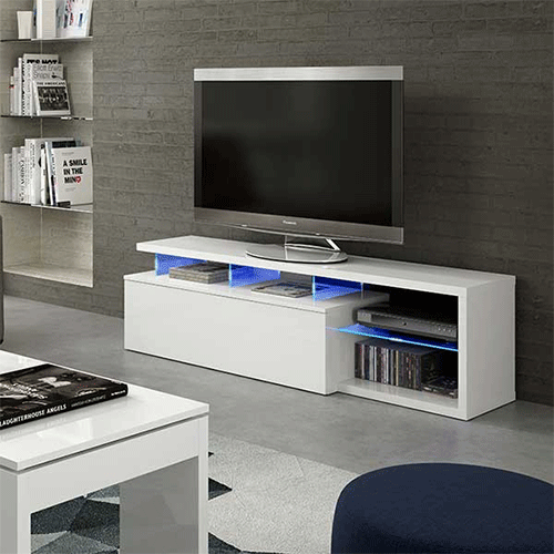 Zenia – blue-tech TV Unit - LED - Blanc - (137,5 x 41,5 x 8) (DISPONIBLE MI-DÉCEMBRE)
