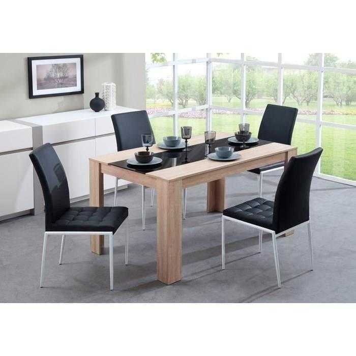 Damia table manger m lamin ch ne noir 4 chaises for Table cuisine 140 x 90