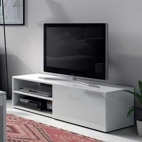 KIKUA Meuble TV contemporain mélaminé blanc brillant L 130 cm