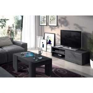 KIKUA Meuble TV contemporain mélaminé gris cendré - L 130 cm (DISPONIBLE MI-DÉCEMBRE)