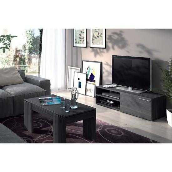 KIKUA Meuble TV contemporain mélaminé gris cendré L 130 cm