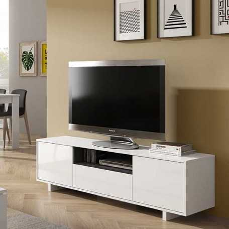 Meuble TV bas 3 portes + 1 niche blanc brillant ZAIRA