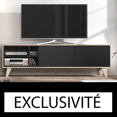 Meuble tv zaiken scandinave gris ch ne 180 cm discount for Deco meuble dakar senegal