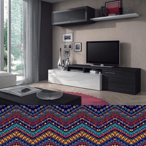 Meuble TV NEXUS contemporain blanc et gris 200cm