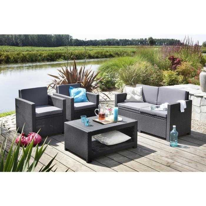 monaco salon de jardin 4 places aspect rotin tress gris. Black Bedroom Furniture Sets. Home Design Ideas