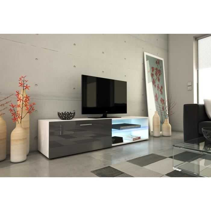 Kora meuble tv contemporain blanc et gris discount s n gal for Deco meuble dakar senegal