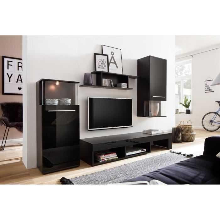 Punch meuble tv mural led contemporain m lamin noir - Meuble tv mural led ...
