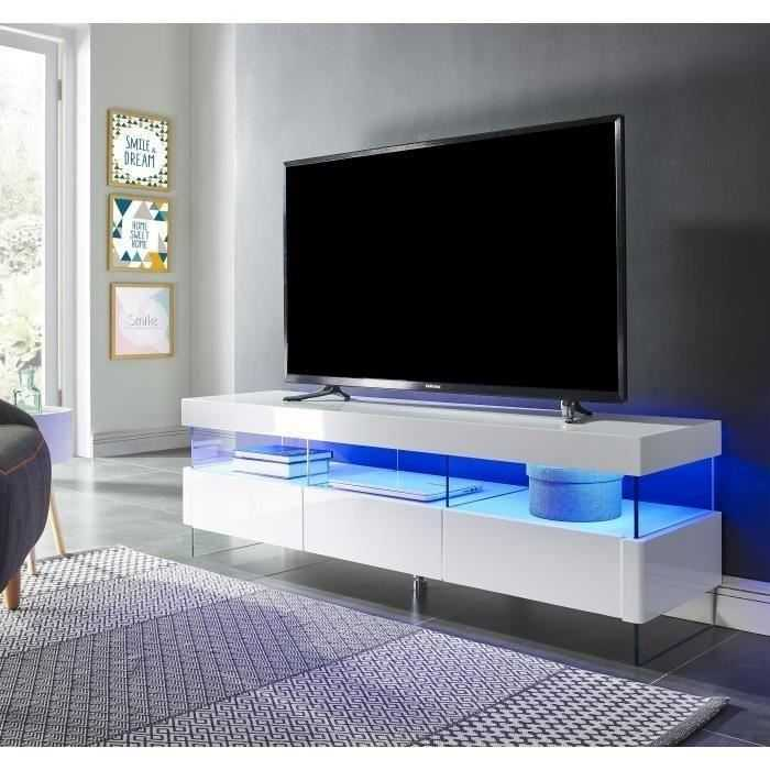 Sezanne meuble tv avec led contemporain laqu blanc for Deco meuble dakar senegal
