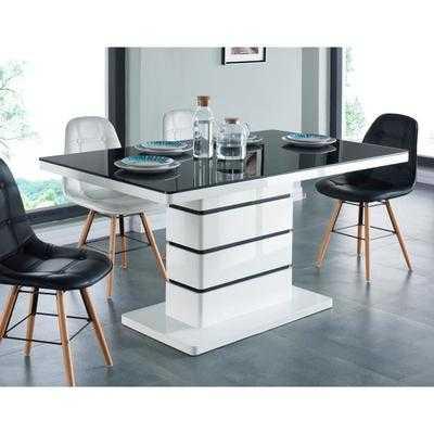 Lucia table manger 6 pesonnes 150x90 cm noir et blanc for Table de salle a manger 6 personnes jimi