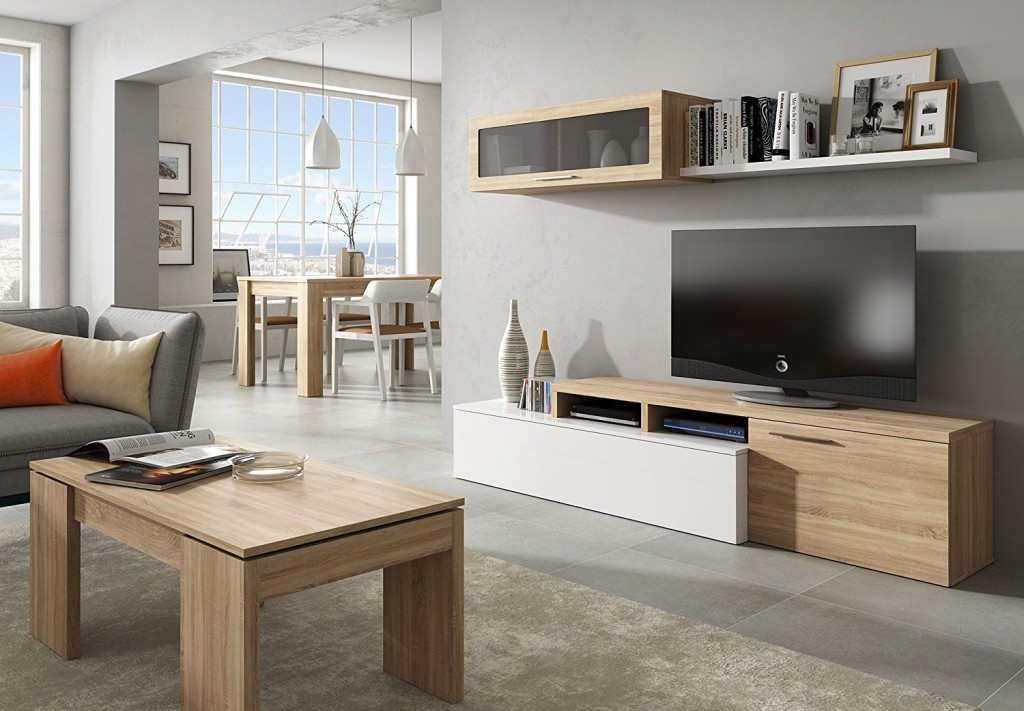 meuble tv nexus contemporain blanc et ch ne 200cm discount s n gal. Black Bedroom Furniture Sets. Home Design Ideas