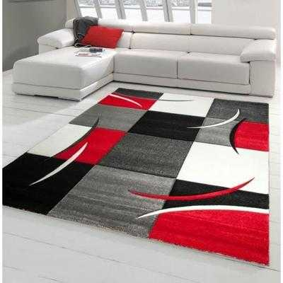 Diamond tapis de salon 160 230 cm rouge gris noir - Tapis de salon rouge ...