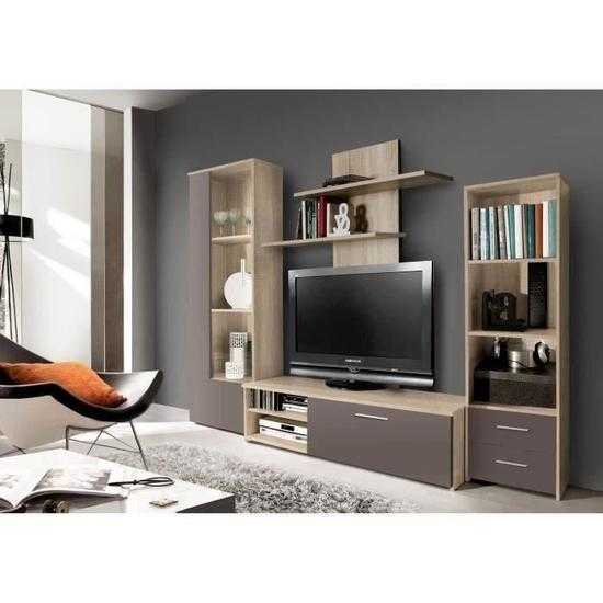 meuble tv mural pysy contemporain en bois agglom r d cor ch ne et taupe mat l 230 cm. Black Bedroom Furniture Sets. Home Design Ideas