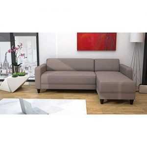 nazaré canapé d'angle réversible 3 places – tissu taupe – contemporain – l 200 x p 141 cm