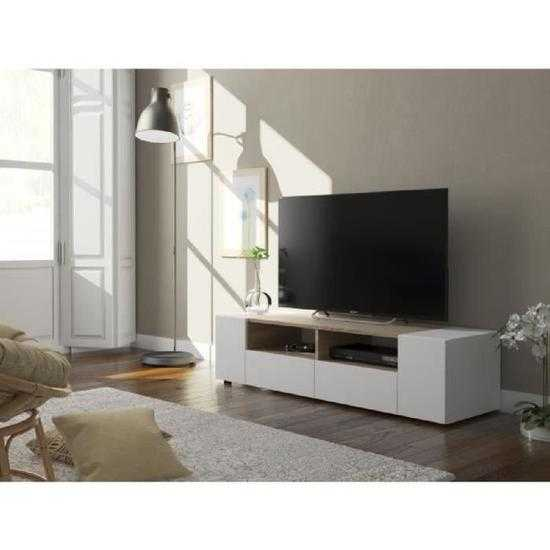 tamiko meuble tv contemporain blanc et d cor ch ne l 138 cm discount s n gal. Black Bedroom Furniture Sets. Home Design Ideas