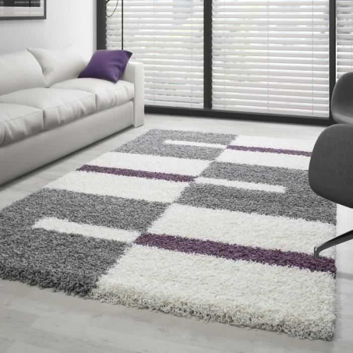 Tapis Shaggy designe pile longue (Gris-Blanc-Violet – 160×230 cm ...