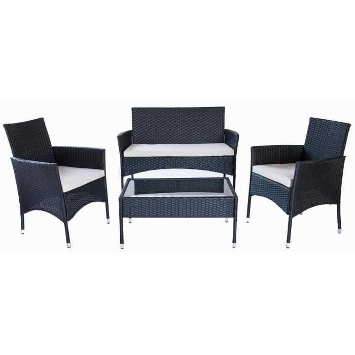 Salon de jardin Rio 1 table basse, 2 fauteuils et 1 banquette en ...