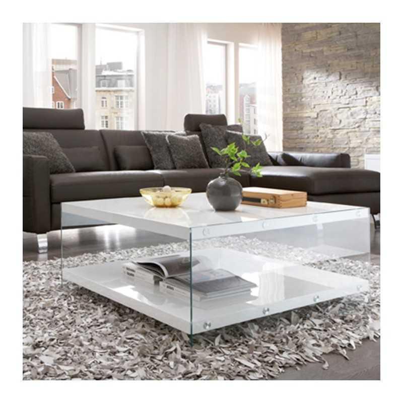 Table Basse Rectangulaire En Verre Trempe Avec Plateau Laquee Blanc