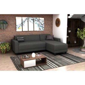 bob canapé d'angle réversible 3 places – tissu gris