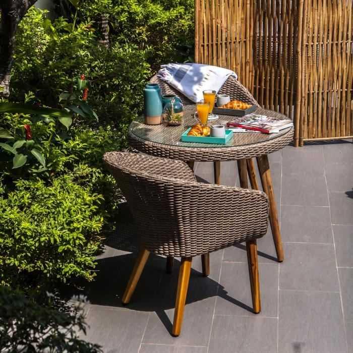 Ensemble de mobilier de jardin 2 places - 1 table et 2 fauteuils ...