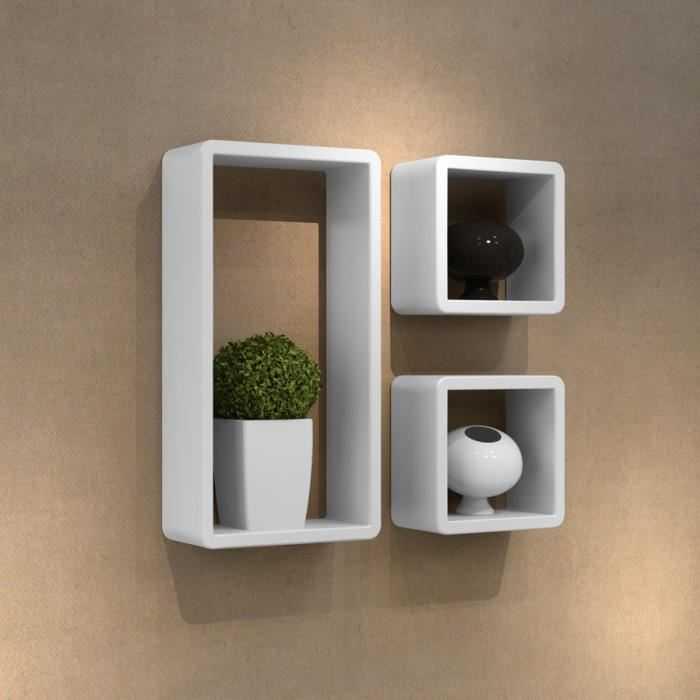 Etagères Design Murale 3 Cubes blanc MDF 42 x 22 x - Discount Sénégal