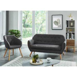 hilda ensemble canapé droit fixe 2 places et fauteuil