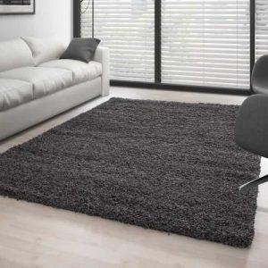 tapis shaggy(200×290 cm) pile longue couleur unique gris