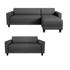bob canapé d'angle réversible 3 places et fauteuil 2 places – tissu gris