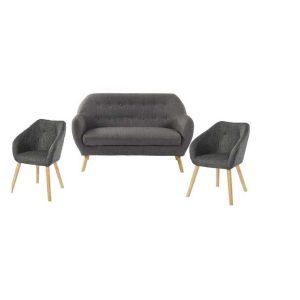 hilda canapé droit fixe 2 places + 2 fauteuils – tissu gris anthracite – scandinave – l 142 x p 65 / l 62 x p 60 cm (copie)