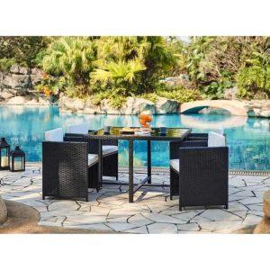 aloha table 4 fauteuils encastrables – 110 x 110 x 74 cm