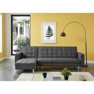 atlanta canapé d'angle réversible convertible 4 places – tissu gris – contemporain – l 260 x p 173 cm