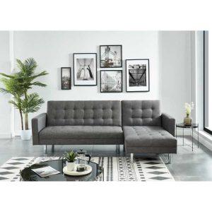 canapé d'angle droit conv ga carl 250 cm gris chine