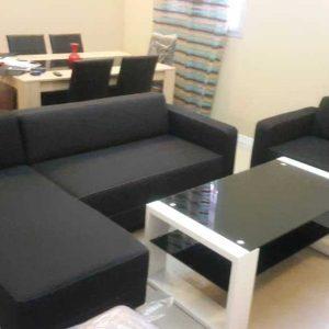 nazaré canapé angle réversible 3 places et 2 places – tissu noir