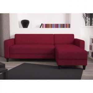 nazare canapé d'angle réversible 3 places – tissu rouge – contemporain – l 200 x p 141 cm