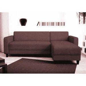 nazaré canapé d'angle réversible 3 places – tissu marron – contemporain – l 200 x p 141 cm