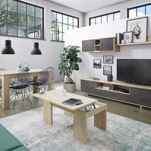belus meuble tv mural contemporain chêne brillant – l 200 cm