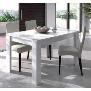 kendra table à manger extensible de 6 à 8 personnes style contemporain mélaminé blanc brillant – l 140-190 x l 90 cm