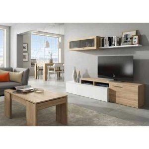 nexus meuble tv contemporain blanc brillant et décor chêne canadien